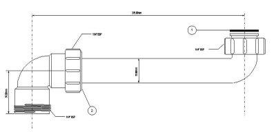 Патрубок пластиковый для сифона к раковине McALPINE 1 1/4 х 1 1/4 х 275 мм угловой (5036484012630)