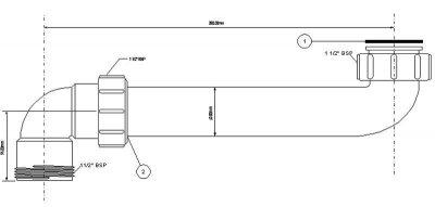 Патрубок пластиковый для сифона к мойке McALPINE 1 1/2 х 1 1/2 х 275 мм угловой (5036484009067)