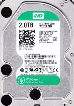 Жорсткий диск Western Digital Green 2TB 5400rpm 64МB 3.5 SATA III (WD20EZRX)