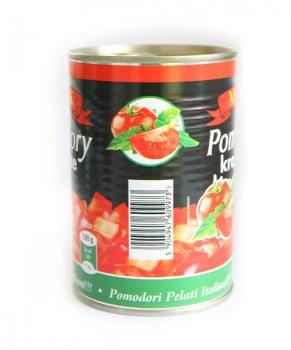 Помидоры очищенные порезанные MK в томатном соке 400 мл (90001)