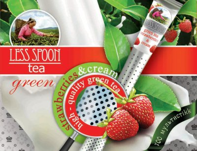 Чай зеленый земляника со сливками LESS SPOON в стиках с перфорацией 100 шт