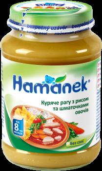 Упаковка м'ясного пюре Hame Куряче рагу з рисом і овочами 190 г х 6 шт. (8595139735111)