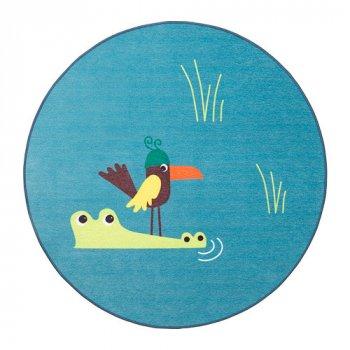 Ковер IKEA DJUNGELSKOG 100 см безворсовый с рисунком птицы синий 203.937.61