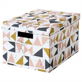 Коробка с крышкой IKEA TJENA 25x35x20 см белый черный розовый 403.982.15