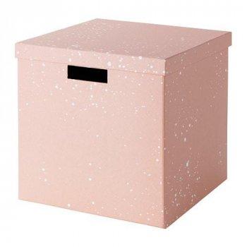 Коробка з кришкою IKEA TJENA 30x30x30 см рожева 704.038.09