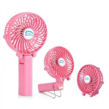 Вентилятор ручної акумуляторний Plymex HF-308 Рожевий (ft-302)