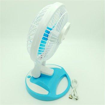 Вентилятор аккумуляторный USB настольный с LED подсветкой диаметр 15 см 5580 голубой