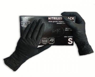 Перчатки медицинские нитриловые смотровые VitLux чёрные (уп 100шт 50пар) размер S (10578) -