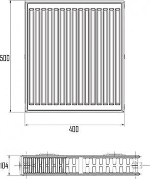 Радиатор стальной Aquatronic 22-К 500 х 400 боковой