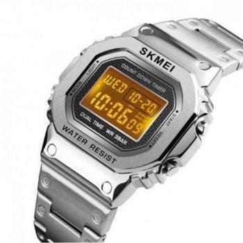 Часы мужские SKMEI SINGAPORE 1456 с металлическим браслетом + мировое время Серебристый