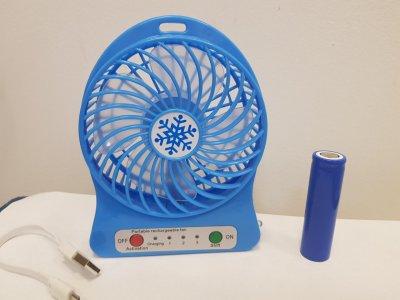 Вентилятор настольный аккумуляторный USB Portable Fan Mini синий диаметр 10см