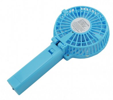 Ручной вентилятор аккумуляторный мини с ручкой USB диаметр 10см Handy Mini Fan голубой
