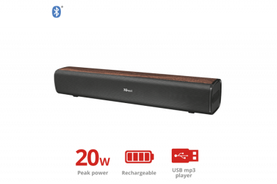 Звукова панель Trust Vigor Wireless Soundbar with Bluetooth - brown(22867)