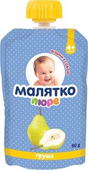 Упаковка дитячого пюре Малятко Грушеве в паучі 90 г х 18 шт. (4820123511582_4820123511629)