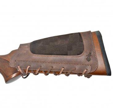 Патронташ на приклад кожа Ретро со вставкой коричневый (10206/2)
