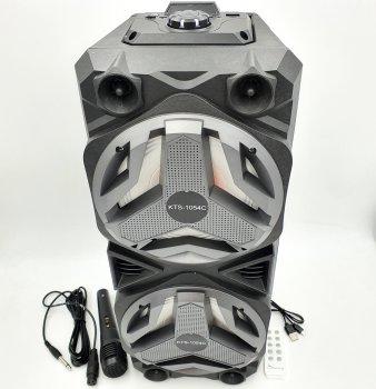 """Портативна колонка 2х6"""" акумуляторна бездротова Bluetooth караоке акустична система USB FM 2х10 Вт KTS-1054"""