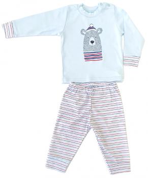 Пижама (футболка с длинными рукавами + штаны) Фламинго 613-222-9 Голубая