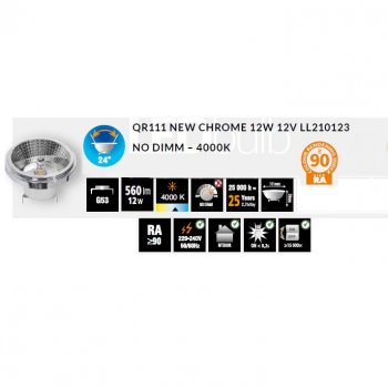Світлодіодна лампа Azzardo New Chrome Qr111 12V 4000 No Dimm (Ll210123)
