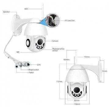 Уличная камера видеонаблюдения IP Wi-Fi camera UKC (1080p, ночная съемка, датчик движения, влагозащита IP66) (3524)