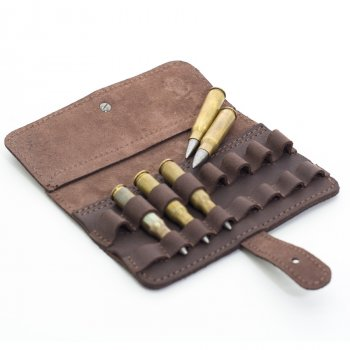 Подсумок на 8 патронов 7,62 нарезные кожа Ретро Zoo-hunt коричневый 10156/2