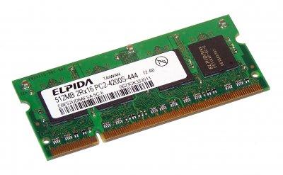 Оперативна пам'ять Elpida ELPIDA 512MB DDR2 533MHZ PC2-4200 SODIMM (EBE52UD6AFSA-5C-E) Refurbished