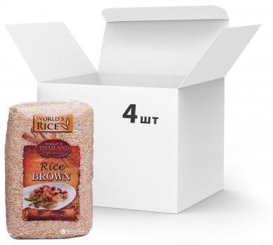 Упаковка риса World's Rice коричневого, нешлифованного 4 шт х 500 г (2006700)