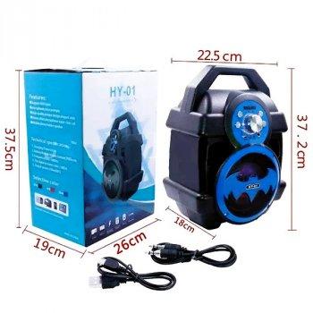 Колонка бумбокс Boombox HY-01 Бэтмен акустическая портативная Bluetooth Чёрно-синяя