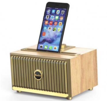 Дизайнерська бездротова акустика OneDer V6 (Bluetooth, MP3, FM, AUX), світле дерево