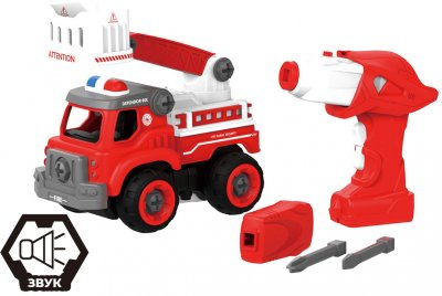 Пожежна машина з драбиною Hulna на радіокеруванні 33 деталі конструктор (LM8034-YZ-1)