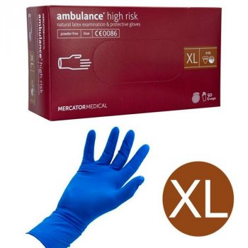 Перчатки Mercator Medical AMBULANCE High Risk обзорные неприпудрени размер XL 50 шт (25пар)