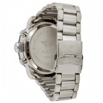 Водонепроницаемые наручные часы AMST 3022 Metall Silver-Black Original (MG052)