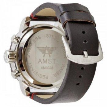 Водонепроницаемые наручные часы AMST 3022 Silver-Black-Silver Smooth Wristband Original (MG047)