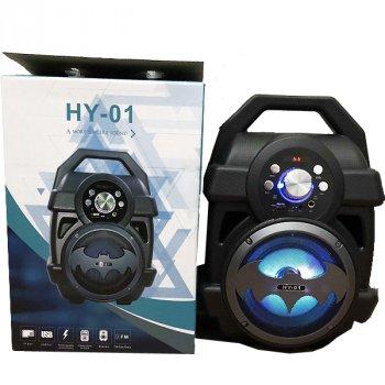 Акустична система BoomBox портативна Bluetooth колонка з ручкою для перенесення Бетмен FM радіо USB вхід AUX micro CD 37см Чорно-сіра (HY-01)