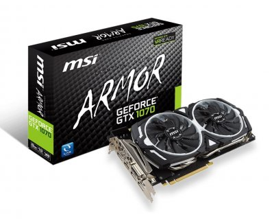 Видеокарта GeForce GTX1070 MSI ARMOR 8Gb DDR5 256bit DVI/HDMI/3xDP 1683/8008 MHz 8pin GTX 1070 ARMOR 8G