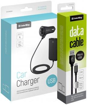 Автомобильное зарядное устройство ColorWay 4 USB 4.8 А c удлинителем 1.5 м и кабелем MicroUSB 2.1 A 1 м (CW-CASC008)