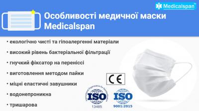 Медицинская маска Medicalspan белая 3х слойная повседневная 50 шт (Б101050)
