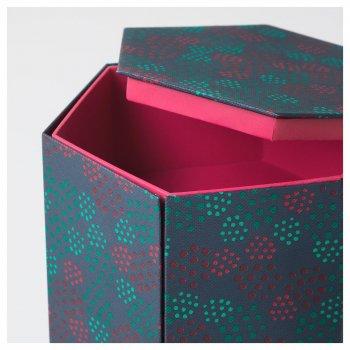 Декоративна коробочка IKEA (ІКЕА) ANILINARE 14х16см зелена червона (704.021.12)