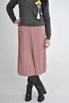 Шерстяная юбка плиссе в розовом цвете