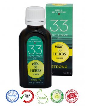 Натуральное швейцарское эфирное масло 33 травы Strong с корицей VIVASAN Original 50мл концентрат 100% GMP Sertified Paraben free