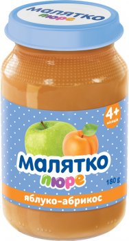 Упаковка дитячого пюре Малятко Яблуко-абрикос з цукром гомогенізоване 180 г х 8 шт. (4820123510677)