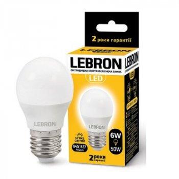 Світлодіодна лампа LEBRON 6W 3000K G45 220V E27