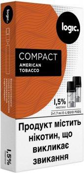 Картриджі Logic Compact American Tobacco для POD-систем 1.5% 2 шт. (Американська суміш) (14488900) (4820000537001)