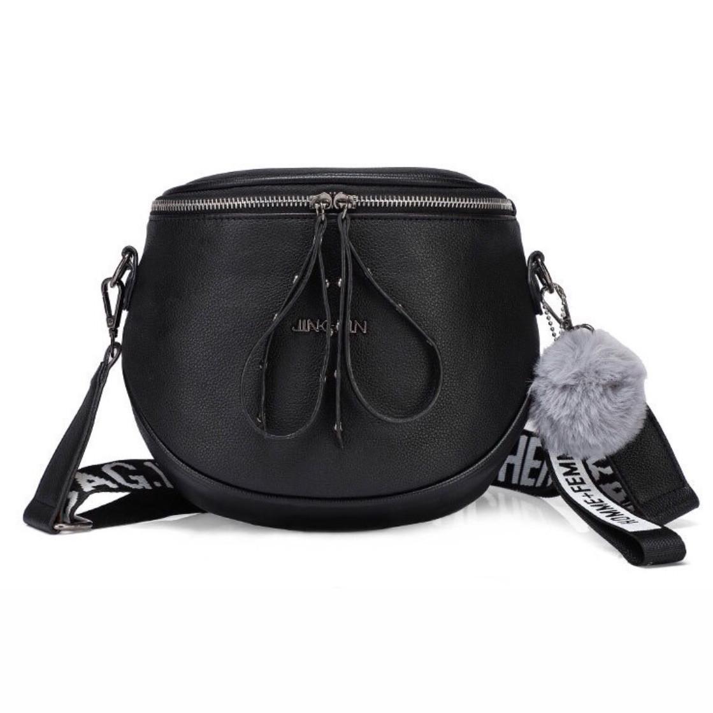 """Без бренда / Женская классическая полукруглая сумка кросс-боди """"JINGPIN"""" на широком ремешке черная"""