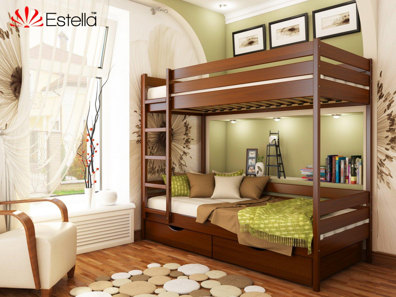 Двухъярусная кровать с ящиками и бортиком защитным внизу 80х200 Estella Дуэт Каштан (Массив-108) Л4