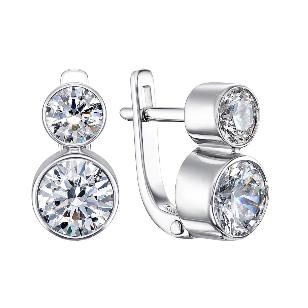 Серебряные серьги с кристаллами Swarovski и родированием 000129700