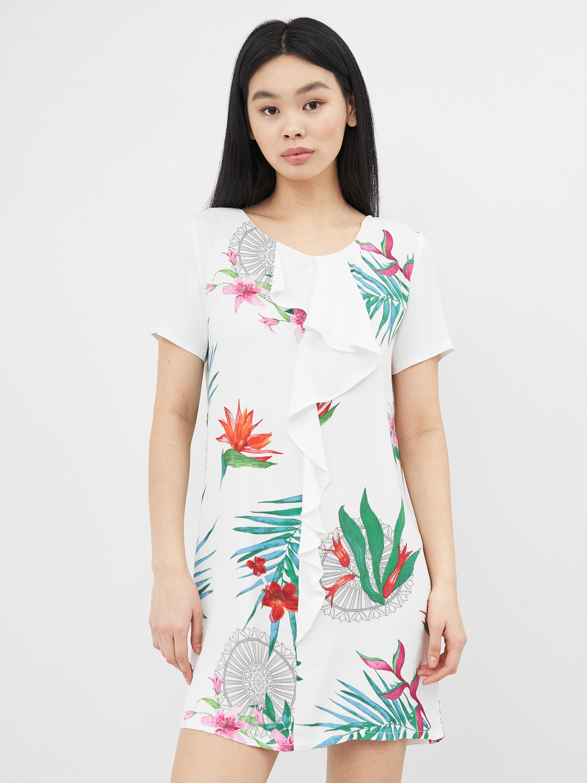 Платье Desigual 75V21A9/1001 44 Белое с принтом в цветы