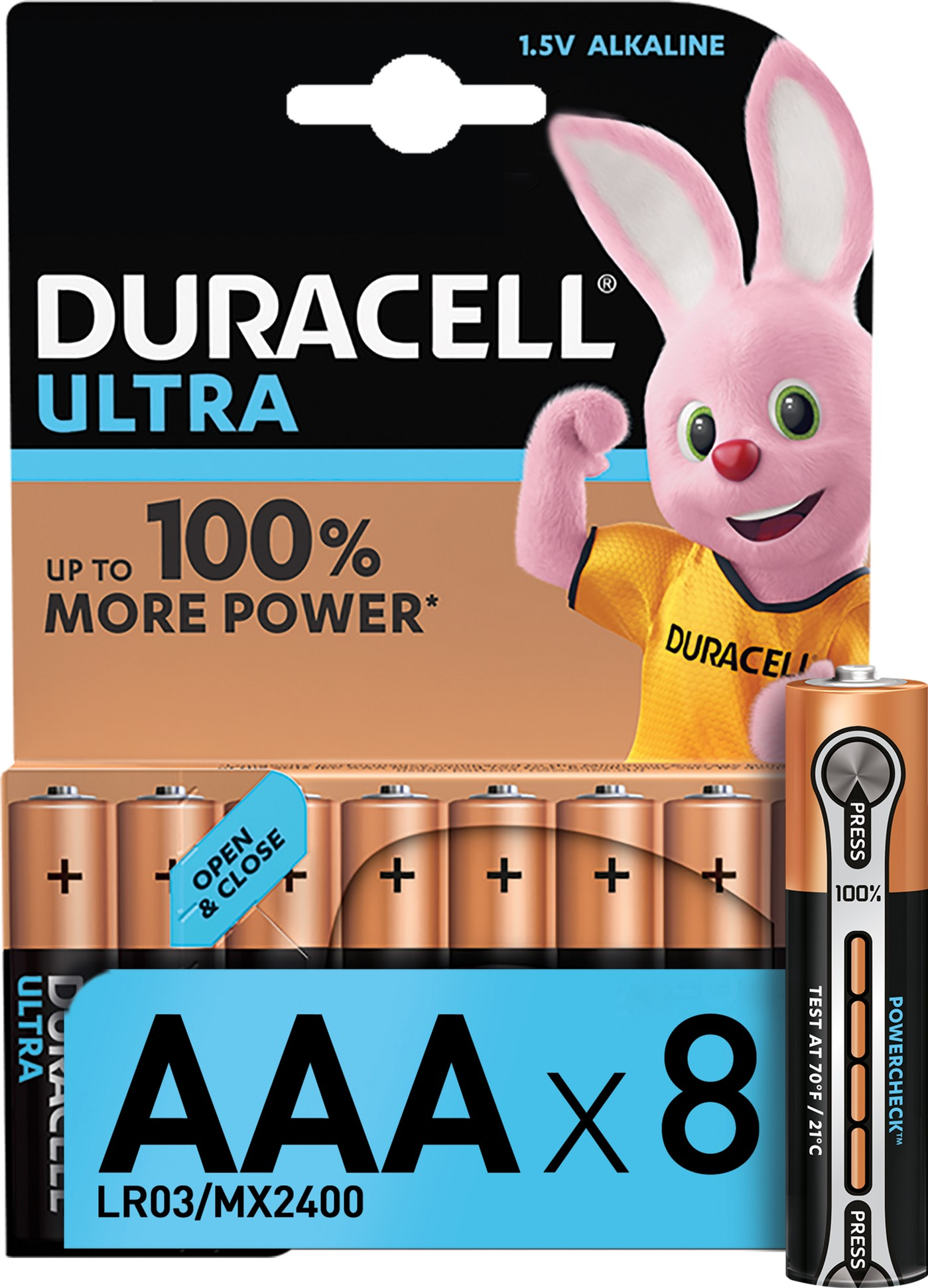 Лужні батарейки Duracell Ultra Power AAA 1.5В LR03 8 шт