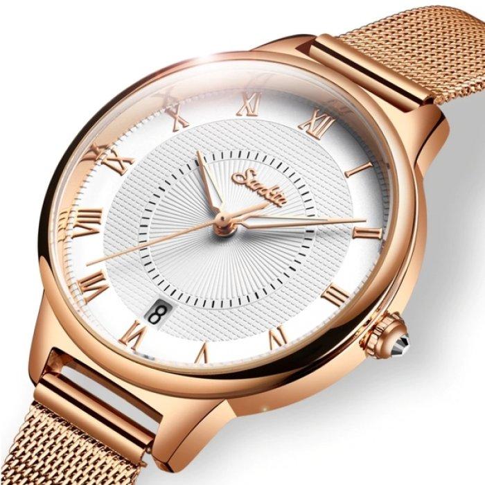 Часы женские Sunkta Summer Белый/Золотистый с металлическим браслетом + отображение даты