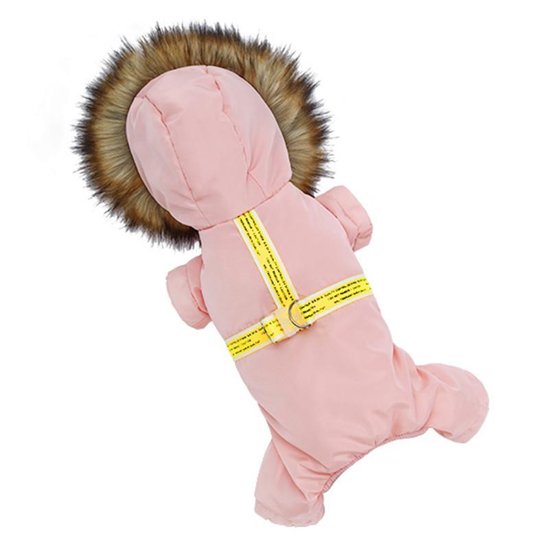 Комбинезон с капюшоном для собак Hoopet HY-Y2256 Pink S теплый зимний (SKU_6394-20515)