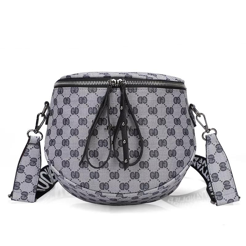 """Без бренда / Женская классическая полукруглая сумка кросс-боди """"JINGPIN"""" на широком ремешке серая"""